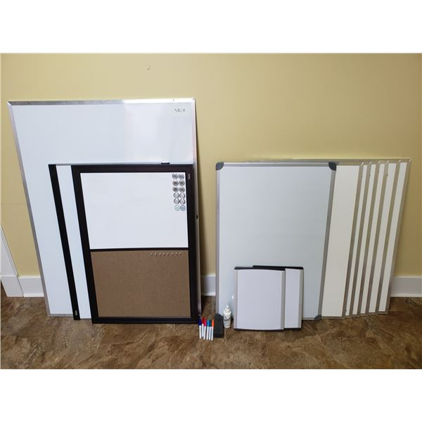 12 WHITE BOARDS (VARIOUS SIZES) INCLUDES PENS, ERASERS & CLEANING SOLUTION
