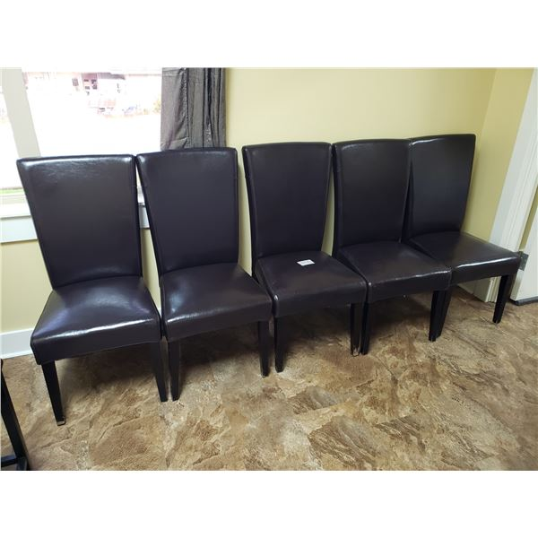 5 WOOD & LEATHER CHAIRS