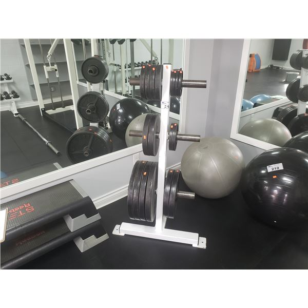 PROTEUS BARBELL COMPANY PLATE WEIGHTS & STAND  2 45-POUND PLATES, 2 35-POUND PLATES,