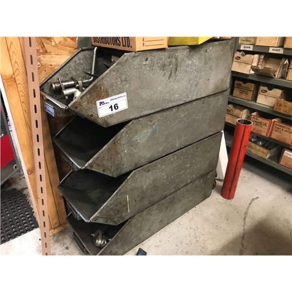 4 METAL BINS WITH A FEW SPECIALTY TOOLS