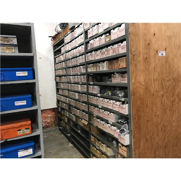 VERY LARGE INVENTORY OF GATES HYDRAULIC FITTINGS (BOTH SIDES OF RACKING PLUS RACKING 9' X 3' X