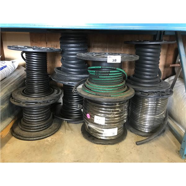 10 SPOOLS OF VARIOUS SIZE HYDRAULIC HOSE