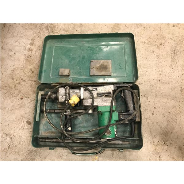 HITACHI MODEL DH38VF ELECTRIC JACK HAMMER WITH 2 BITS IN CARRY CASE
