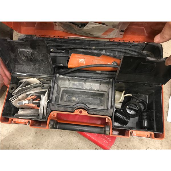 FEIN MULTIMASTER OSCILLATING TOOL MODEL FNN250Q WITH SEVERAL ATTACHMENTS IN CARRY CASE