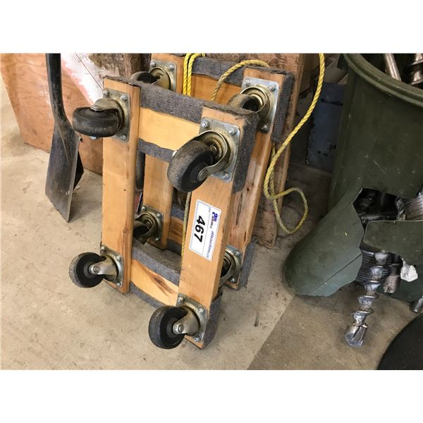 2 X  4-WHEEL SMALL WOODEN DOLLIES