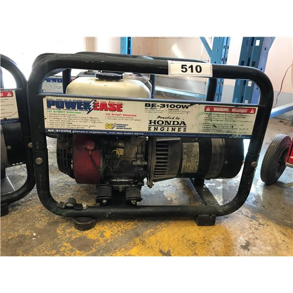 POWER-EASE BE-3100W POWERED BY HONDA ENGINE GENERATOR