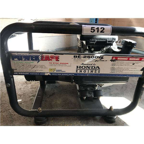 POWER-EASE BE-2600W POWERED BY HONDA ENGINE GENERATOR