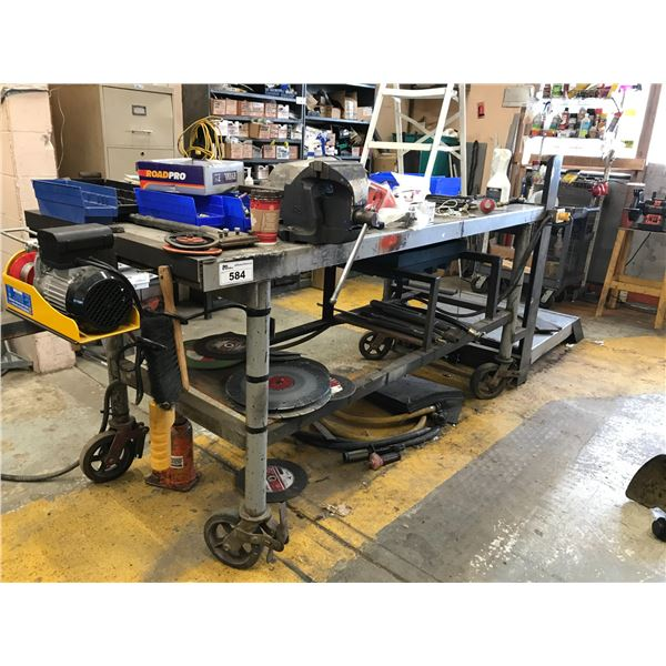 """4-WHEEL METAL WORK TABLE 7' X 3' WITH AN ELECTRIC MACHINE HOIST & 6"""" VICE PLUS OTHER CONTENTS ("""