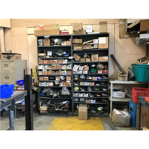 CONTENTS OF 2 SHELVES (REPAIR PARTS, FILTERS, CLAMPS ETC) SHELVES INCLUDED IF WANTED