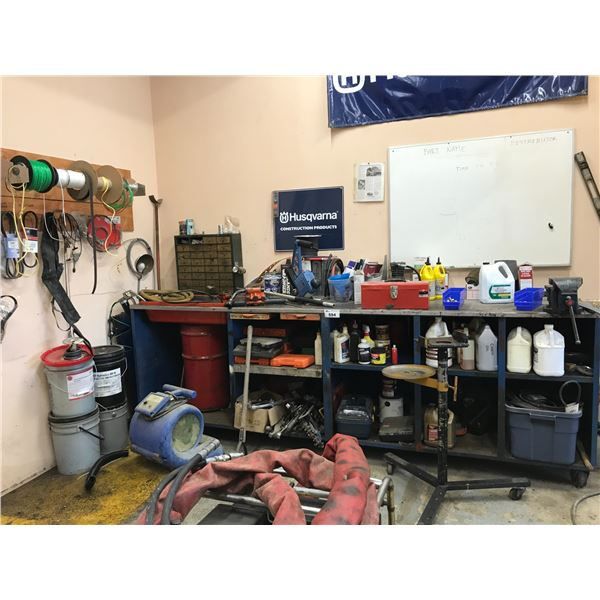 CONTENTS OF WORK BENCH (REPAIR PARTS, BRUSHES, COTTER PINS, NUTS & BOLTS, LUBRICANTS & WHEEL