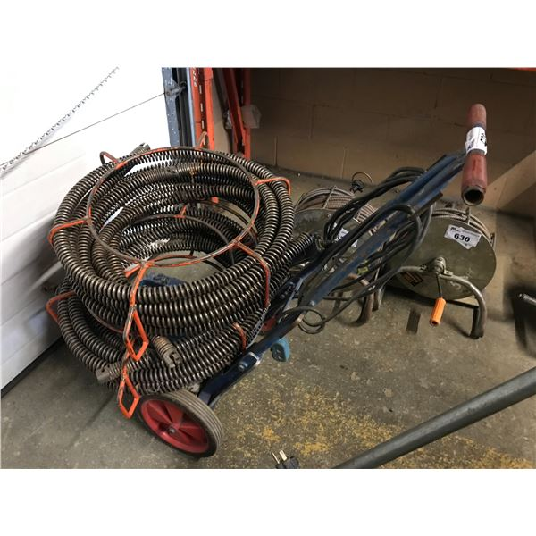 POWER DRAIN AUGER WITH SEVERAL LENGTHS OF AUGER