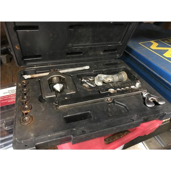 SHELF LOT OF ASSTD AUTOMOTIVE TOOLS (BREAK LINE FLARING KIT, CLUTCH CENTERING TOOLS, STEERING WHEEL