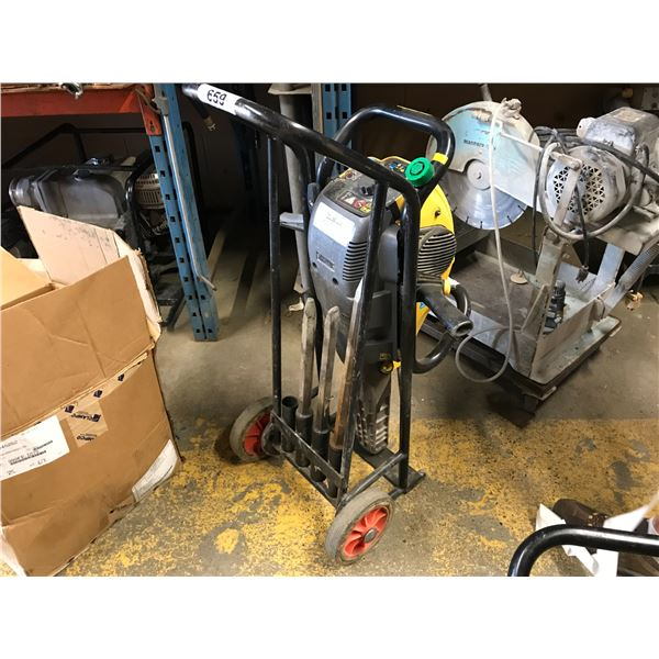 ATLAS GAS POWERED JACK HAMMER IN CART WITH 3 BITS