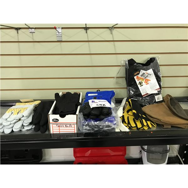 SMALL SHELF LOT OF VARIOUS TYPES OF NEW WORK GLOVES, SAFETY VEST & LEATHER TOOL POUCH