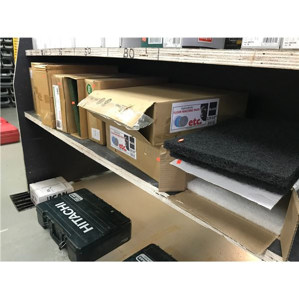 "SHELF LOT OF FLOOR MACHINE PADS (12"" X 18"" APPROX 40 PCS)"