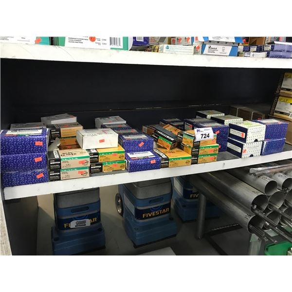 SHELF LOT OF ASSTD BOSTITCH & BISSETT FASTENERS/STAPLES, VARIETY OF SIZES (APPROX 57 BOXES)