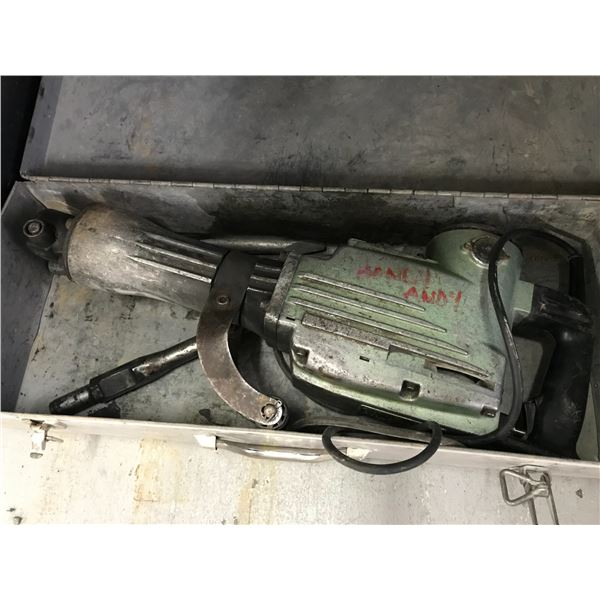 HITACHI ELECTRIC JACK HAMMER WITH 3 BITS & CARRY CASE