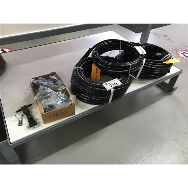 """3 PRESSURE WASHER HOSES (2 X 100' & 1 X 25"""") & 2 BOXES OF RUBBER TIE DOWNS"""