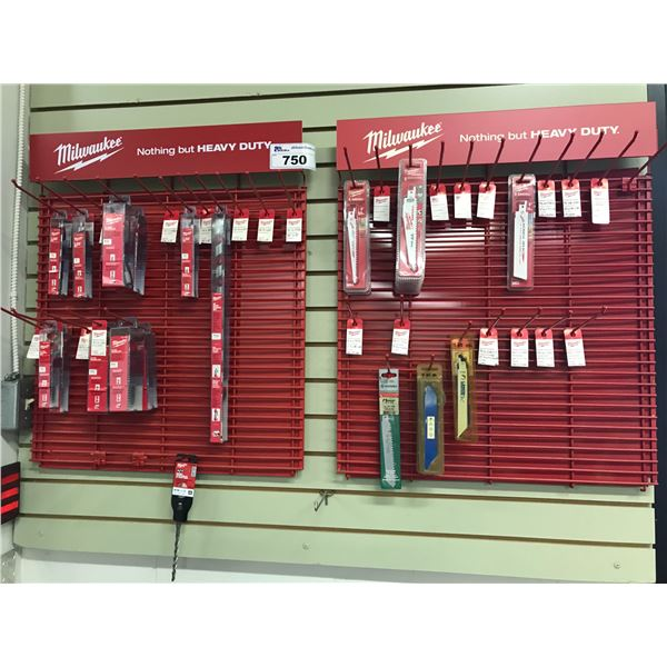 MILWAUKEE WALL DISPLAY WITH WOOD AUGERS & SAWZALL BLADES (APPROX 12 BITS & 17 BLADES)