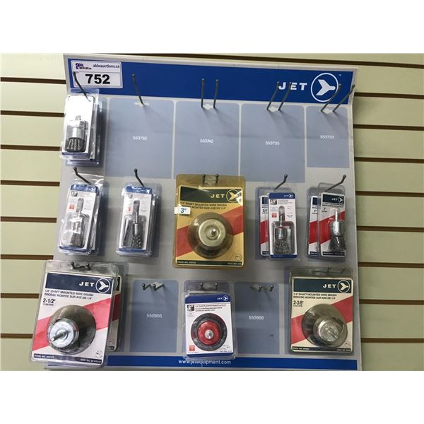 JET WALL DISPLAY CASE (ASSTED SHAFT MOUNT WIRE BRUSHES FOR USE WITH DRILLS (APPROX 17 PCS)