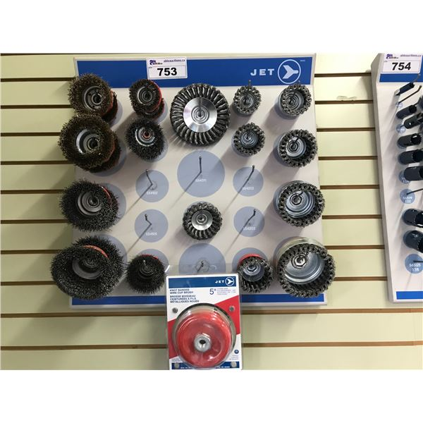 JET WALL DISPLAY CASE WITH WIRE BRUSHES USED WITH ANGLE GRINDER (APPROX 22 PCS)
