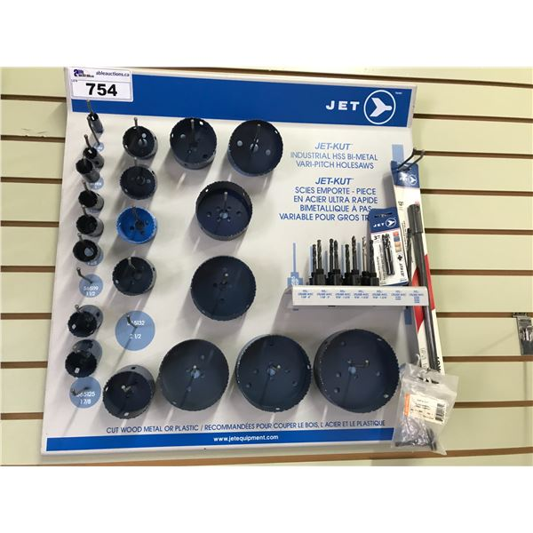 """JET WALL DISPLAY CASE  HOLE SAW BLADES (5/8"""" TO 5"""") APPROX 20 PCS PLUS CENTER BITS)"""