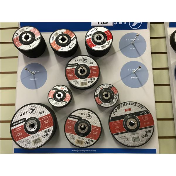 JET WALL DISPLAY CASE WITH ASSTD GRINDING DISCS (APPROX 90 PCS)