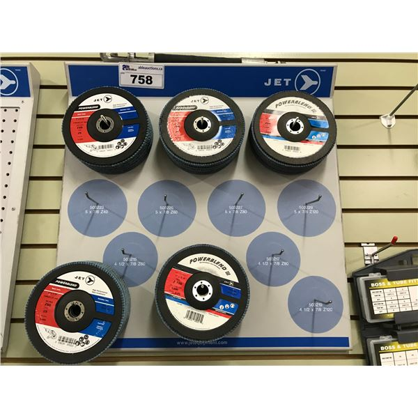 """JET WALL DISPLAY WITH 7"""" SANDING WHEELS (42 X 120GRIT APPROX 26 PCS)"""