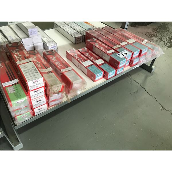 SHELF LOT OF ARCTEC WELDING RODS (APPROX 24 BOXES)