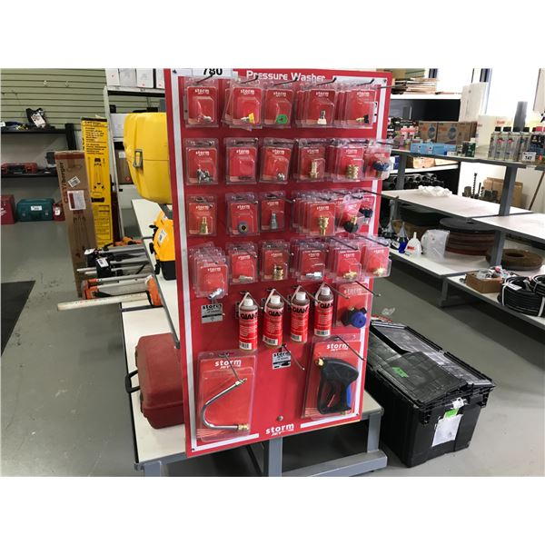 RED RACK OF ASSTD PRESSURE WASHER ACCESSORIES RACK INCLUDED