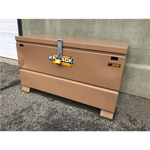 """KNAACK MODEL 2048 CONSTRUCTION STORAGE BIN 48"""" X 24"""" X 28"""" HIGH WITH LOCK & SEVERAL KEYS (BOLTED TO"""