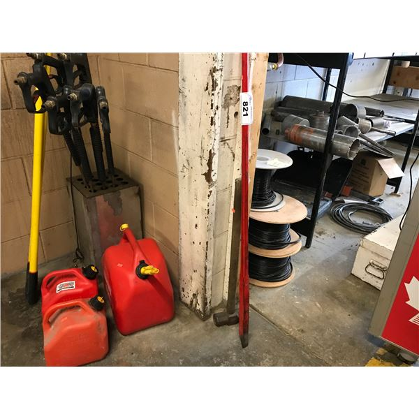 SMALL GROUP LOT OF WRECKING BAR, SLEDGE HAMMER & 3 JERRY CANS