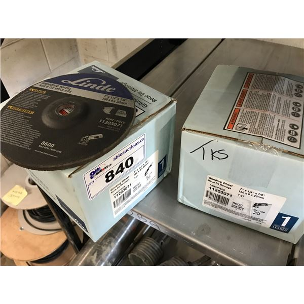 """2 BOXES OF LINDE 7"""" X 1/4"""" GRINDING WHEELS (20 PER BOX)"""