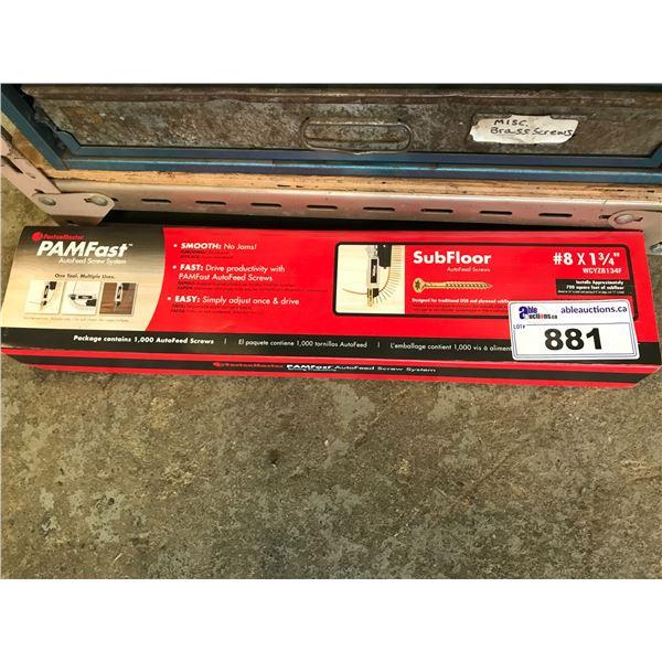 "4 BOXES PAMFAST AUTO FEED SUBFLOOR SCREWS # 8 X 1-3/4"" (1000 PER BOX)"
