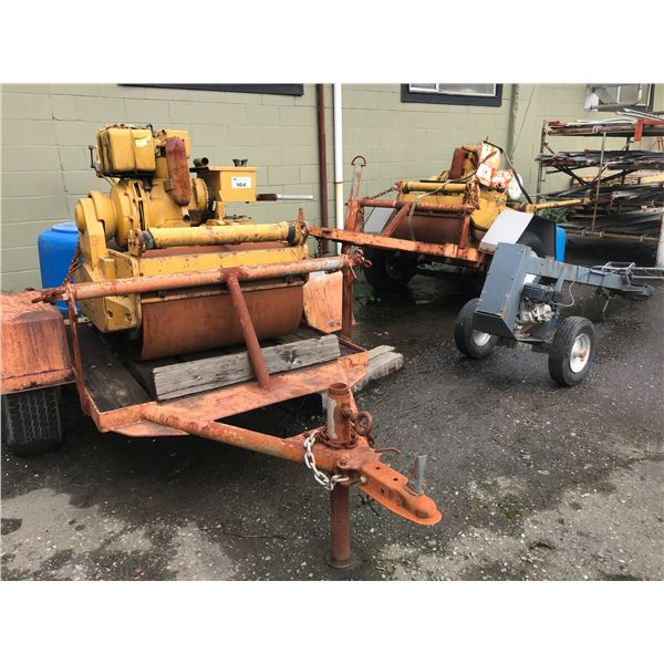 2 OLD BOMAG ROLLING TAMPERS - WITH TRAILERS PLUS ROLLING POST HOLE AUGER - ALL NOT WORKING