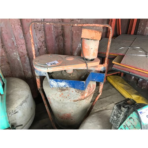 ORANGE ELECTRIC CEMENT MIXER ON TRIPOD STAND