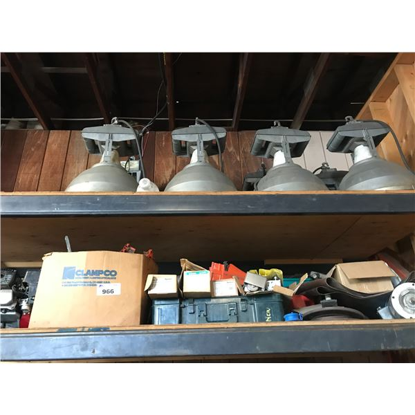 2 SHELVES OF EQUIPMENT THAT REQUIRES REPAIR OR IS INCOMPLETE & LARGE LIGHTS