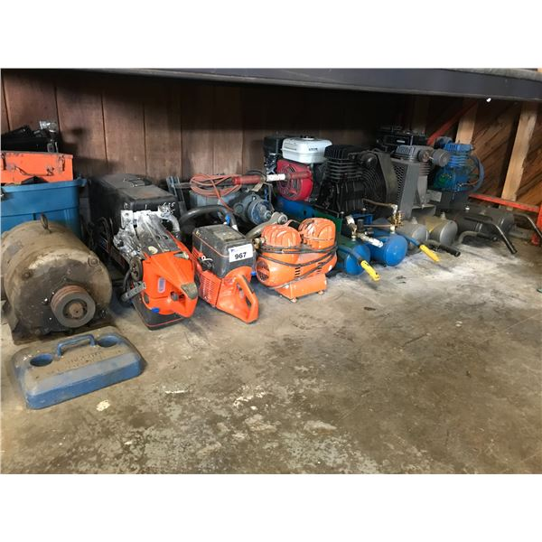 SHELF LOT OF EQUIPMENT THAT REQUIRES REPAIR (COMPRESSORS, CHAINSAWS ETC)