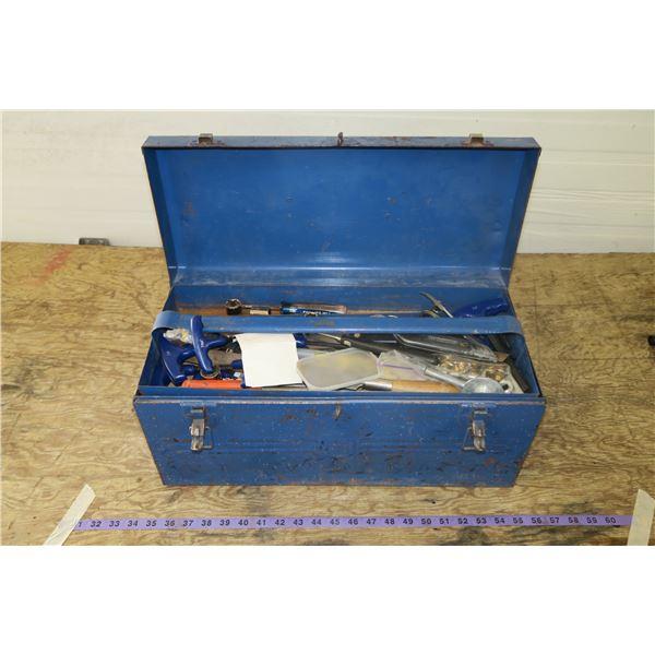 Metal Tool Box w/ Carpentry tool, chisels, Files etc.