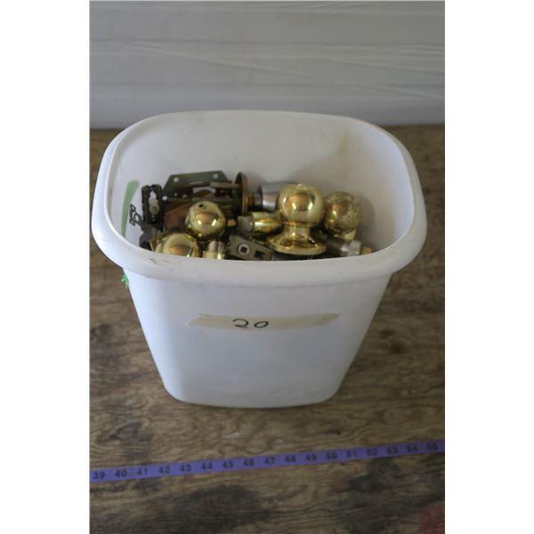 Tub of Misc. Doorknobs + Hardware