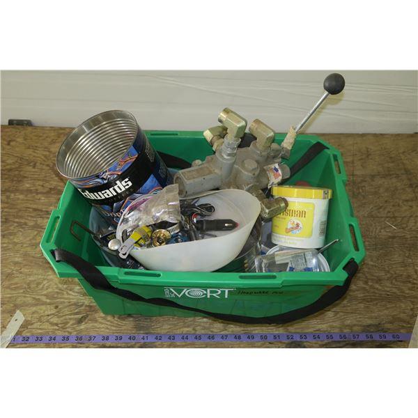 Tub Of Shop Items: Nuts/bolts, Hydraulic Control, etc.