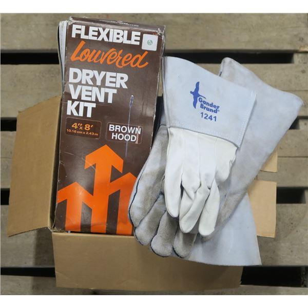 Dryer Vent Kit, Gloves, misc. items