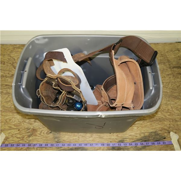Tub w/ Two Tool Belts & Misc. Tools