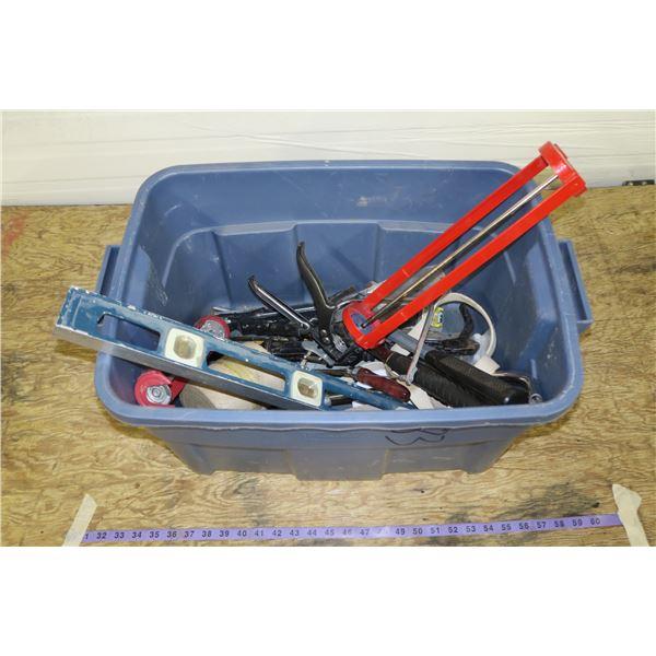 Tub of Carpentry Tools, Caulking Guns, Hammers, level, etc.