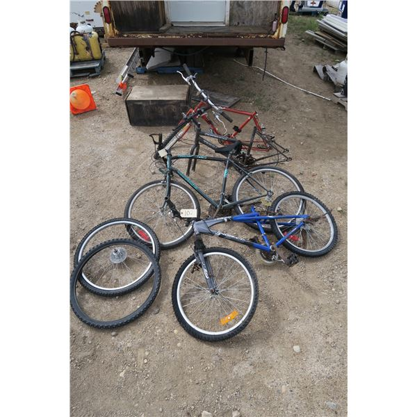 lot of 4 bicycles and tires