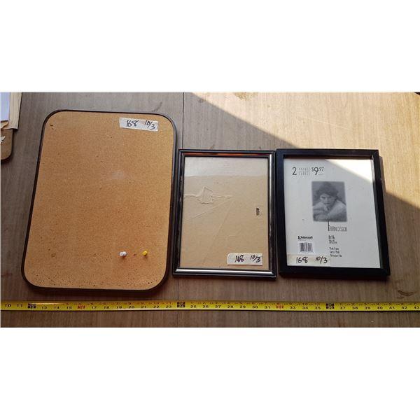2 Picture Frames & Small Corkboard