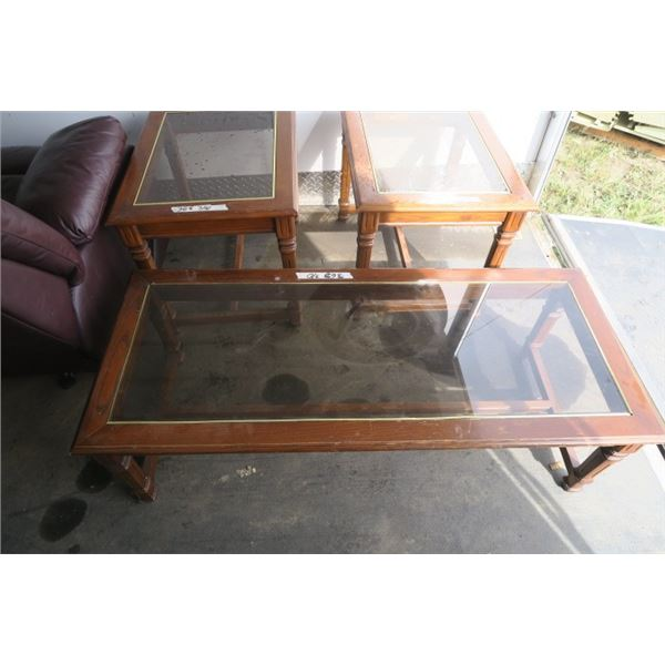 Coffe Table And 2 Side Tables Wood and Glass