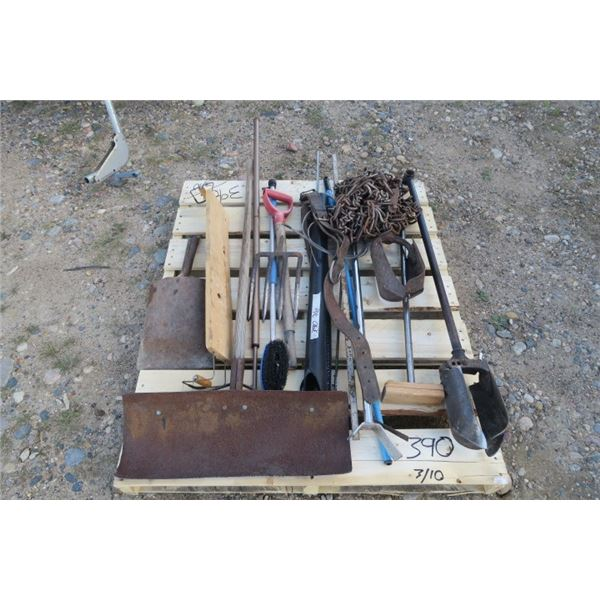 Pallet of Tire Chains and Garden Tools