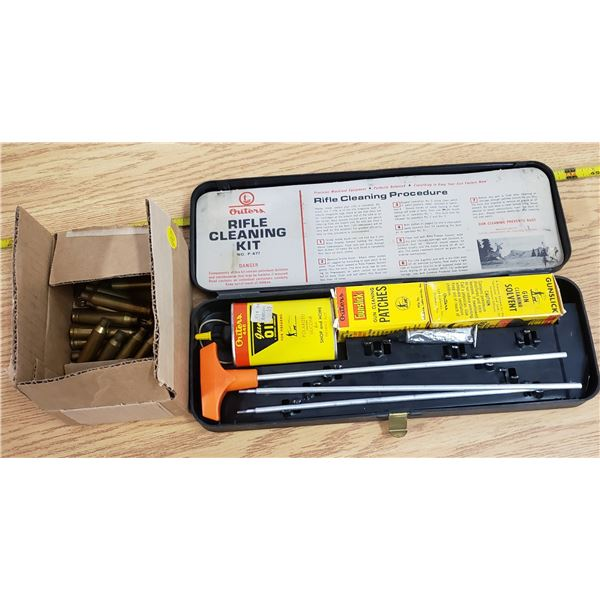 Outers rifle cleaning kit no P-477, small box of empty shell casings\