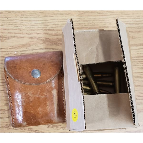 Vintage heavy leather shell pouch full 7mm with box of random shells *NO SHIPPING * *PAL REQUIRED*